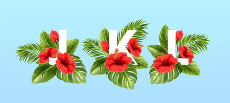 J K L letters surrounded by summer tropical leaves and red hibiscus flowers. Tropical font for summer decoration. Vector illustration Stock Illustratie