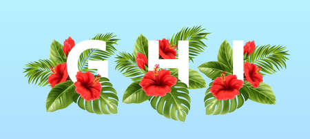 G H I letters surrounded by summer tropical leaves and red hibiscus flowers. Tropical font for summer decoration. Vector illustration