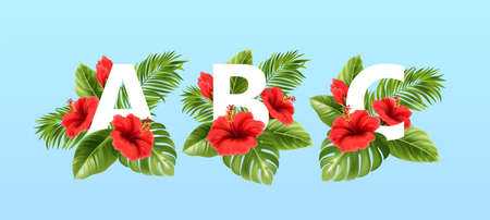 A B C letters surrounded by summer tropical leaves and red hibiscus flowers. Tropical font for summer decoration. Vector illustration