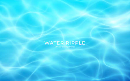 Water realistic ripple, great summer design for any purposes. Illustration with water ripple blue background. Nature background. Vector illustration Stock Illustratie