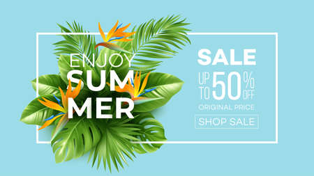 Summer tropical background with Strelitzia flowers and tropical leaves. The inscription Summer Sale on a background of tropical green leaves. Summer Sale concept. Vector illustration