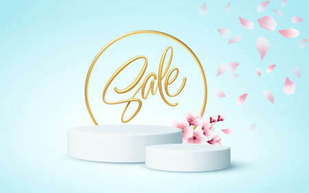 Product podium scene with a branch of blooming sakura on a blue background. Vector illustration