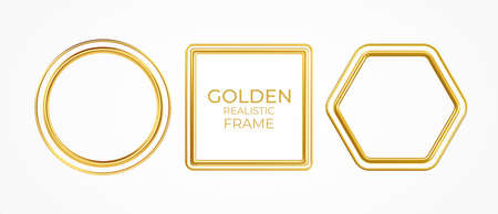Set of gold metal realistic frames of different shapes isolated on white background. Vector illustration