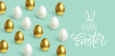 Happy Easter festive blue background with gold and white Easter eggs. Vector illustration Stock Illustratie