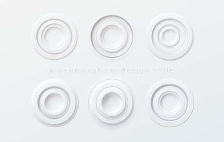 A set of white volumetric round buttons in the style of newmorphism isolated on a white background. Vector illustration EPS10