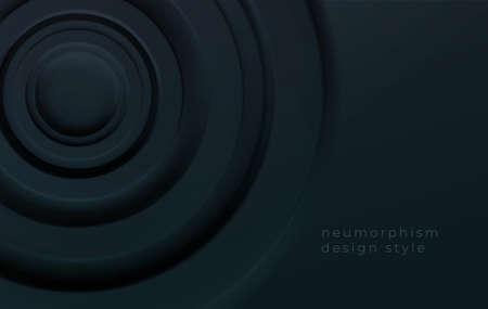 Black volumetric concentric circles. Modern trending technical background for presentations, web design. Vector illustration Stock Illustratie