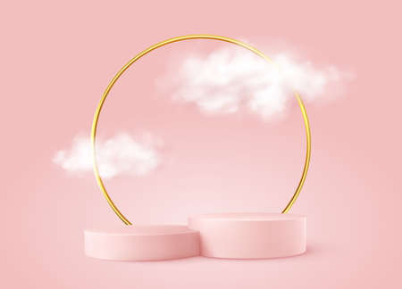 Realistic Pink product podium with golden round arch and clouds. Product podium scene design to showcase your product. Realistic 3d vector illustration