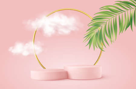 Realistic Pink product podium with golden round arch, plm leaf and clouds. Product podium scene design to showcase your product. Realistic 3d vector illustration Stock Illustratie