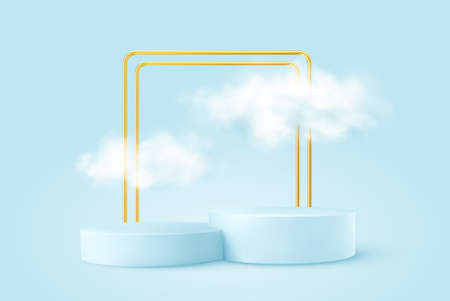 Realistic Blue product podium with golden round arch and clouds. Product podium scene design to showcase your product. Realistic 3d vector illustration Stock Illustratie