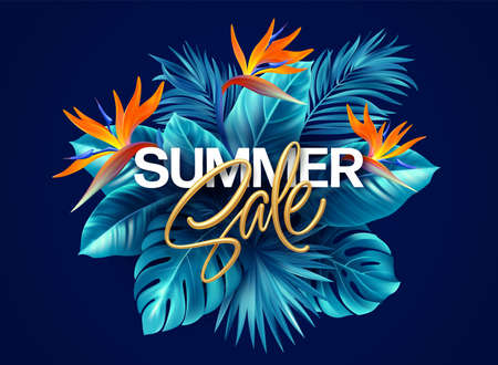 Summer tropical background with Strelitzia flowers and tropical leaves. The golden inscription Summer Sale on a background of tropical green leaves. Summer Sale concept. Vector illustration