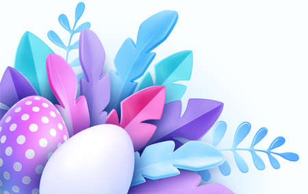 3D trendy Realistic Easter greeting card, banner with flowers, Easter eggs. Spring floral Modern 3d Easter graphic concept. Vector illustration Stock Illustratie