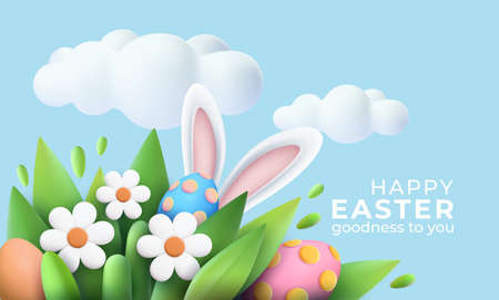 3D trendy Realistic Easter greeting card, banner with flowers, Easter eggs and clouds. Spring floral Modern 3d Easter graphic concept. Vector illustration