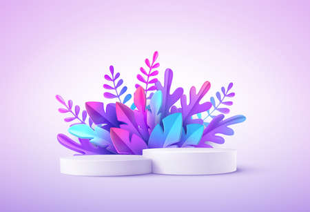 Realistic product podium with fantastic tropical leaves. Product podium scene design to showcase your product. Realistic 3d vector illustration