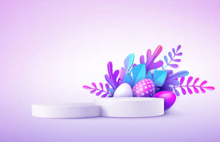 Realistic product podium with Easter eggs and fantastic tropical leaves. Product podium scene Easter design to showcase your product. Spring floral Modern Happy Easter. 3d vector illustration