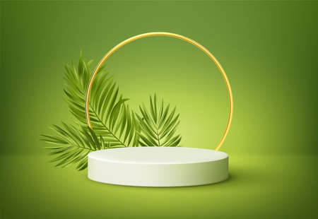 White product podium with green tropical palm leaves and golden round arch on green background. Background for product presentation. Vector illustration