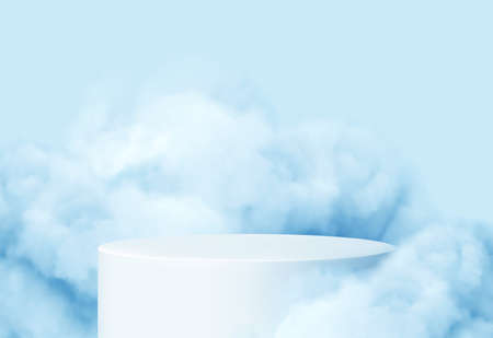 Blue background with a product podium surrounded by blue clouds. Smoke, fog, steam background. Vector illustration