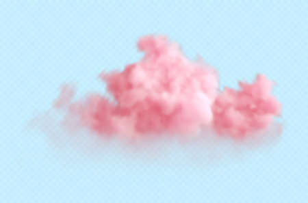 Realistic pink fluffy cloud isolated on transparent blue background. Cloud sky background for your design. Vector illustration