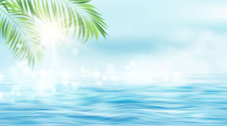 Summer seascape. The rays of the sun and the leaves of the palm tree on the background of the seascape. Sun rays blurred bokeh effect. Vector illustration