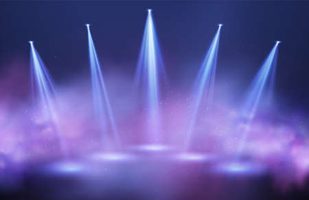 Light beams of searchlights in purple and blue puffs of smoke on a black background. Festive background for night show, party, presentation. Vector illustration