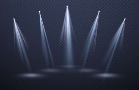 Spotlights light beams isolated on black background. Festive background for night show, party, presentation. Vector illustration