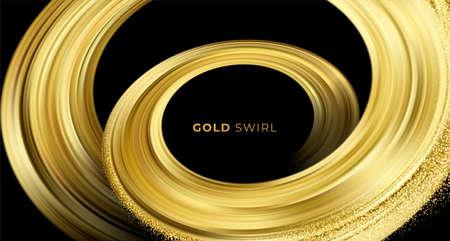 Golden swirl on black background. Abstract shiny color gold wave design element. Vector illustration 向量圖像
