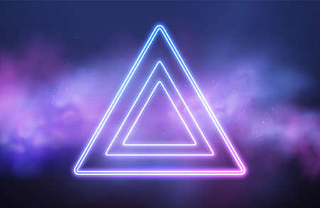 Abstract triangle neon frame on pink smoke background. Vector glowing light lines. Dark neon background. Vector illustration