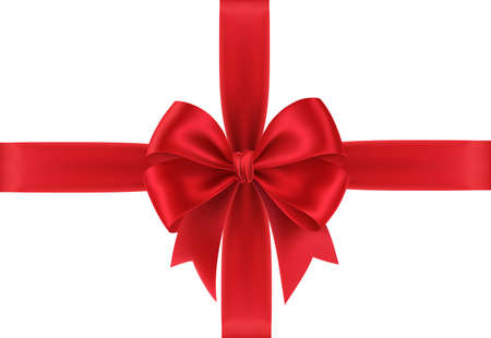 Realistic Red gift bow isolated on white background. Gift card with red bow. Vector illustration
