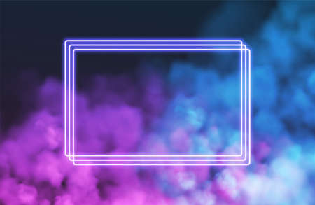 Abstract rectangle neon frame on pink smoke background. Vector glowing light lines. Dark neon background. Vector illustration