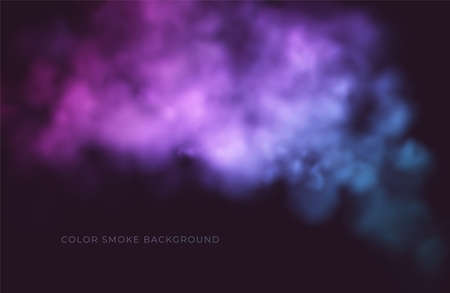 Clouds of pink and blue smoke on a black background. Colored puffs of smoke. Vector illustration 向量圖像