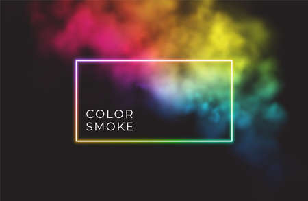 Abstract rectangle neon frame on color smoke background. Vector glowing light lines. Dark neon background. Vector illustration 向量圖像