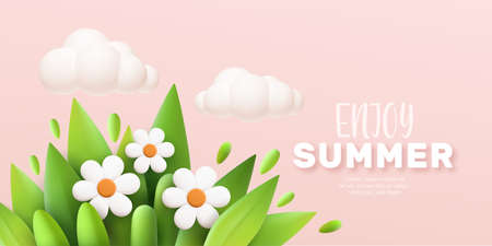 Enjoy Summer 3d realistic background with clouds, daisies, grass and leaves on a pink background. Vector illustration 向量圖像