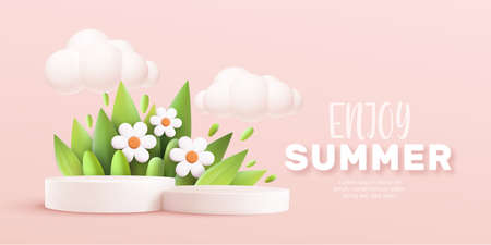 Enjoy Summer 3d realistic background with clouds, daisies, grass, leaves and product podium on a pink background. Vector illustration 向量圖像