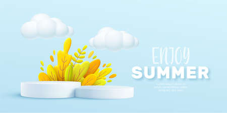 Enjoy Summer 3d realistic background with clouds, grass, leaves and product podium on a pink background. Vector illustration