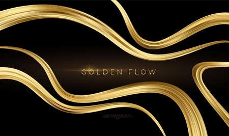 Golden flow on black background. Abstract shiny color gold wave design element. Vector illustration