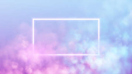 Abstract rectangle neon frame on pink and blue smoke background. Vector glowing light lines. Dark neon background. Vector illustration