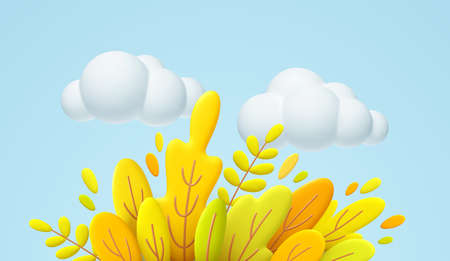 Hello Autumn 3d minimal illustration with autumn yellow, orange leaves and white cloud isolated on blue background. 3d Fall leaves background for the design of Fall banners. Vector illustration 向量圖像