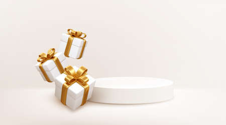 3d style Product podium scene with flying falling white gift box with gold bow. Merry Christmas and New Year festive banner design, greeting card. Vector illustration 向量圖像