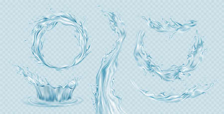 Set of realistic transparent water splashes, water crown, waves, drops isolated on a light blue transparent background. Vector illustration