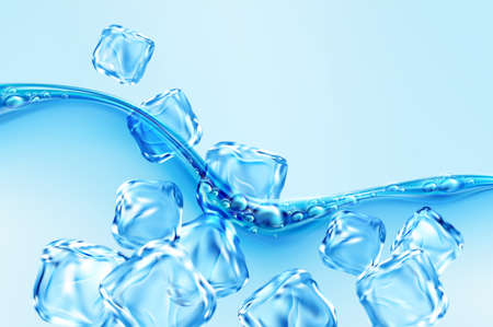 Ice cubes falling into blue transparent wave of water splash with bubbles isolated on blue background. Real transparent water effect. Vector illustration