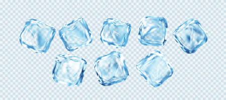 Set of Realistic Ice Cubes Isolated on White Transparent Background. Real transparent ice effect. Vector illustration 向量圖像