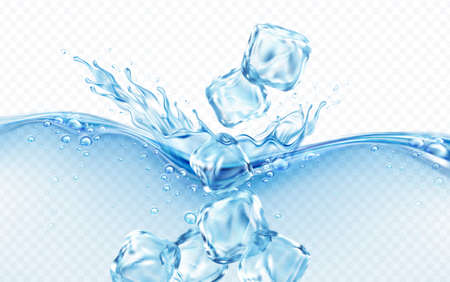 Ice cubes falling into blue transparent wave of water splash with bubbles isolated on white background. Real transparent water effect. Vector illustration