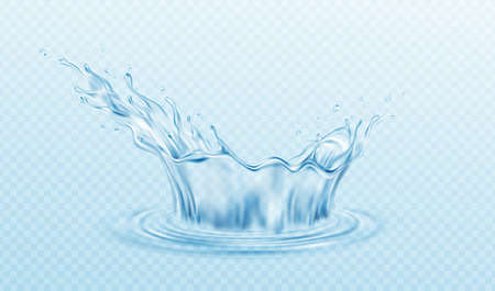Realistic illustration Water crown splash isolated on transparent background. Real transparent water effect. Vector illustration