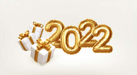 Happy new year 2022 metallic gold foil balloons and gift boxes on white background. Golden helium balloons number 2022 New Year. Vector illustration 向量圖像
