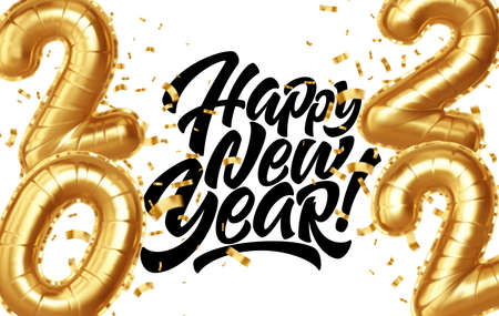 Happy new year 2022 metallic gold foil balloons on a white background. Golden helium balloons number 2022 New Year. Ve3ctor illustration