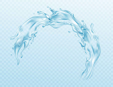 Realistic illustration Water splash isolated on transparent background. Real transparent water effect. Vector illustration 向量圖像