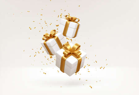 Merry New Year and Merry Christmas 2022 white gift boxes with golden bows and gold sequins confetti on white background. Gift boxes flying and falling. Vector illustration