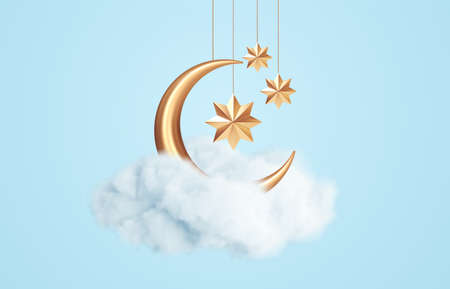 Crescent moon, golden stars and white clouds 3d style isolated on blue background. Dream, lullaby, dreams background design for banner, booklet, poster. Vector illustration 向量圖像