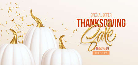 3d realistic white golden pumpkin with sale text isolated on white background. Thanksgiving background with pumpkins and Thanksgiving sale lettering. Vector illustration
