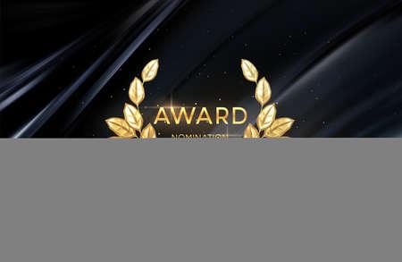 3d realistic gold laurel wreath winner award nominations background. Award concept background. Vector illustration