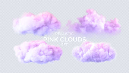 Pink, blue, purple clouds isolated on a transparent background. 3D realistic set of clouds. Real transparent effect. Vector illustration